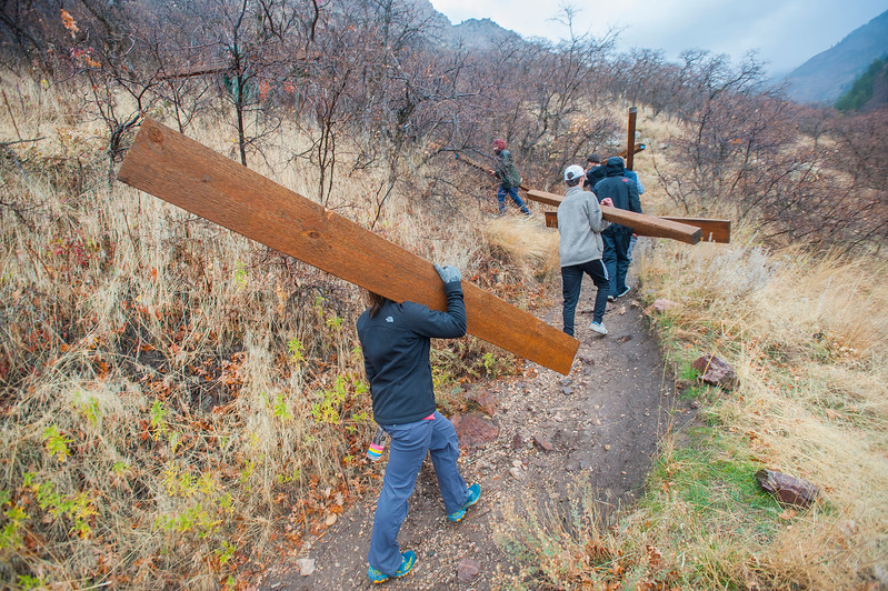 Volunteer crews carry up beams to construct barriers to prevent the hillside from washing away. The team is also seeding the hillside to keep the dirt in place on the hillside on Saturday November 4, 2017, in Ogden.