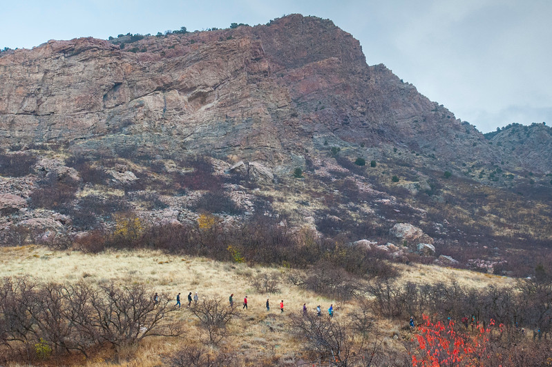 A team of volunteers repair a section of the eroded hillside in the Ogden foothills. They also remove graffiti from Castle Rock to make the area prestien again, along the Bonneville Shoreline Trail, on Saturday November 4, 2017.