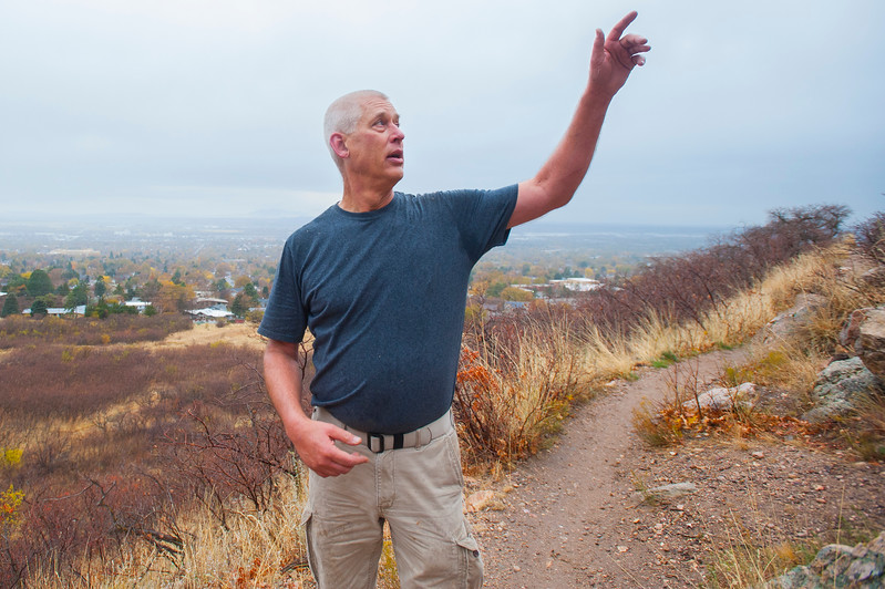 Volunteer leader Randall Wright directs diffrent crews to perform repair to the Castle Rock and Bonneville Shoreline Trail from erosion of the hillside on Saturday November 4, 2017, in Ogden.