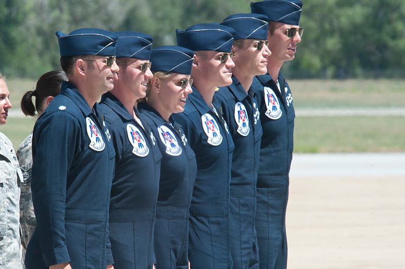 Thunder Bird Pilots salute the crowd before taking to the air. In Layton On June 29, 2014.  (BRIAN WOLFER/Standard-Examiner)