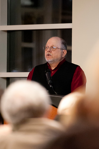 Author Rod Miller speaks at the Lindquist Alumni Center. about the event of Jan. 29, 1863, when U.S. Army troops attacked a Shoshoni village on the banks of the Bear River, 100 miles north of Camp Douglas in Salt Lake City, killing approximately 300 men. On January 27 2014. (Brian Wolfer Special to the Standard-Examiner)
