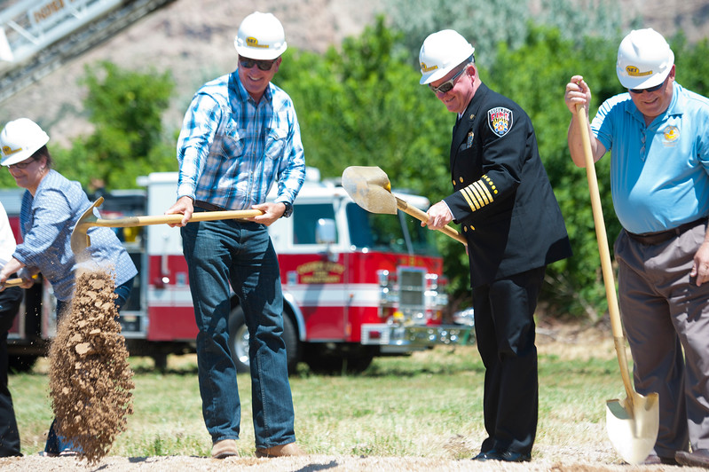 Ogden City Fire Department Chief Mike Mathieu and Mayor Mike Caldwell break ground on the brand new Fire Station being built in North Ogden. The ceremony took place on Monday, July 20, 2015 in North Ogden.