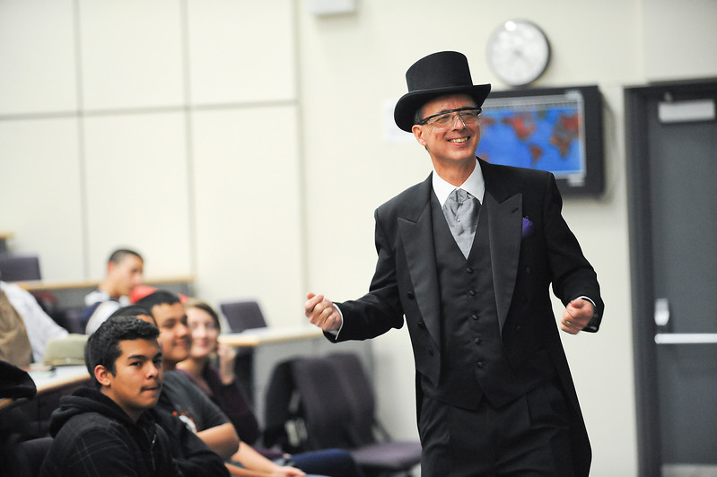Chuck Wight and his colleges do different experiments in a 1800s style of presentation. This was intended to get children excited about math and science. At Weber State, in Ogden. On December 16 2013.(Brian Wolfer Special to the Standard-Examiner)