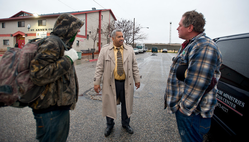 Pastor Robert Hall picks up homeless people from St. Anne's on Sunday and shuttles them to the church for breakfast and then church services. In Ogden on December 21 2014.