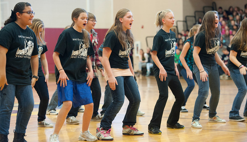 Students of North Davis Junior High do a Haka Dancer a diversity assembly where students perform and listen to Sebastian Velasquez's story In Clearfield. On January 22 2014. (Brian Wolfer Special to the Standard-Examiner)