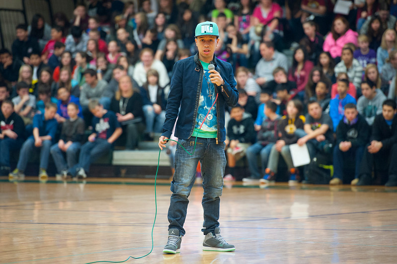 REAL Salt Lake player Sebastian Velasquez speaks to North Davis Junior High students about the importance of staying in school and getting a good education. In Clearfield. On January 22 2014. (Brian Wolfer Special to the Standard-Examiner)