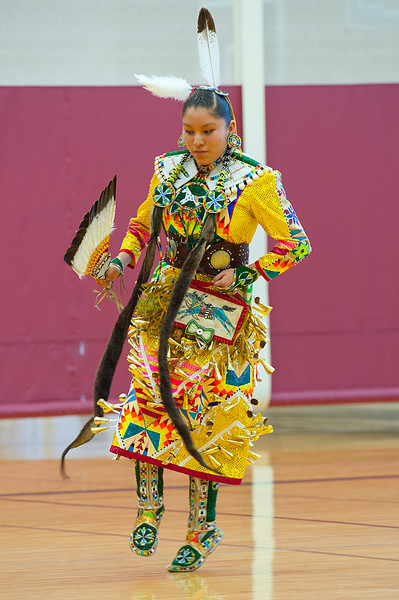 One student performs a dance in traditional native american attire at North Davis Junior High during the diversity assembly. In Clearfield. On January 22 2014. (Brian Wolfer Special to the Standard-Examiner)