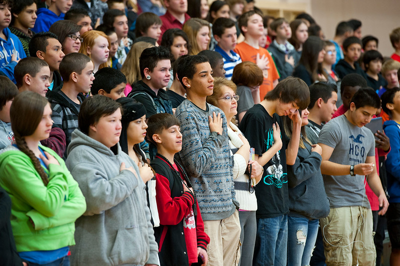 North Davis Junior High students listen to REAL Salt Lake player Sebastian Velasquez speak about his struggles and how he has overcome not finishing school. On January 22 2014. (Brian Wolfer Special to the Standard-Examiner)