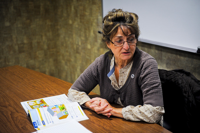 Joan Mckinnie donates her saturday to teach english to a class for free. At the Weber County Library in Ogden. On November 30 2013. (Brian Wolfer Special to the Standard-Examiner)