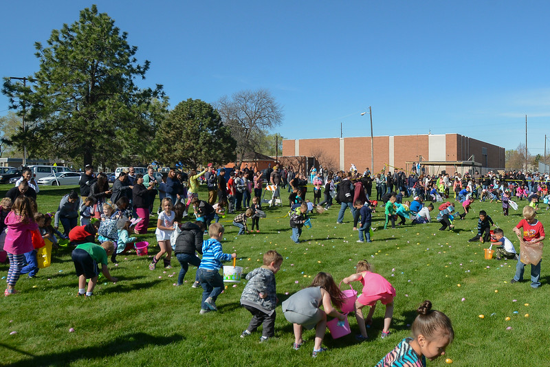 Ogden City Recreation placed over 15,000 eggs for 4 different age groups to find at the Marshall White Center in Ogden on Saturday April 15, 2017.