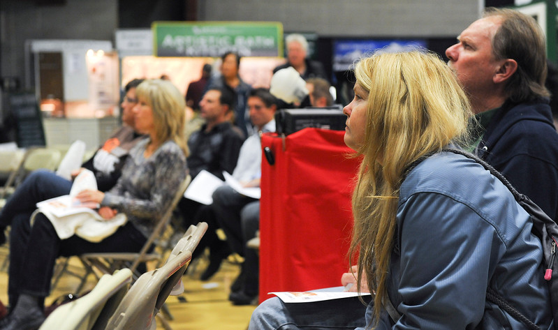 Home owners listen to Mike Baird give home improvement tips. At the Golden Spike Event Center in Ogden. On November 1 2013. (Brian Wolfer Special to the Standard-Examiner)