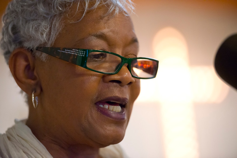 """Frances Coates remembers the African American leaders that blazed the trail for equal rights as part of their """"Founders Day of Black History Program"""". In Ogden, On February 15, 2014. (Brian Wolfer Special to the Standard-Examiner)"""