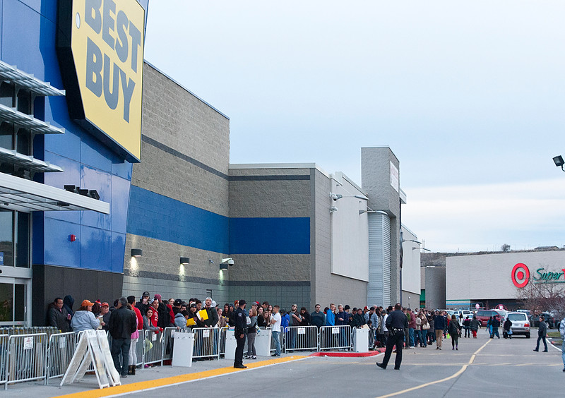 People wait outside of Best Buy for two days to get substantial deals on popular electronics. At the Riverdale Best Buy. On November 27 2014.