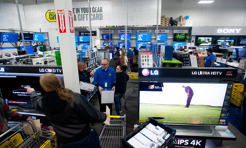 A hot item for Best Buy's Grey Thursday sale is the flat screen tv's. In Riverdale. On November 27 2014.
