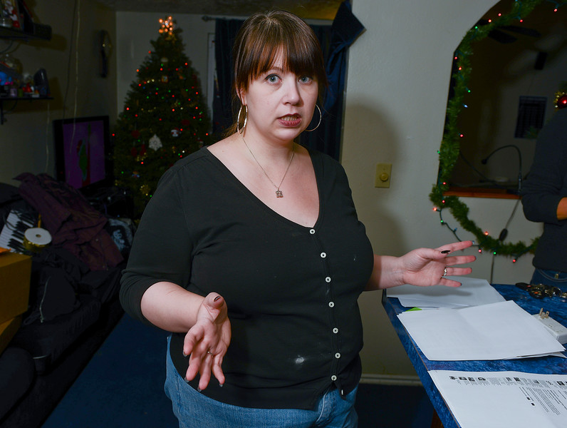 Jennifer Palmer shows the the bad reviews  she posted  on a website. Internet company that fined them $3,500 because the Palmers wrote a negative review concerning the company's customer service. In Layton, On December 19 2013. (Brian Wolfer Special to the Standard-Examiner)