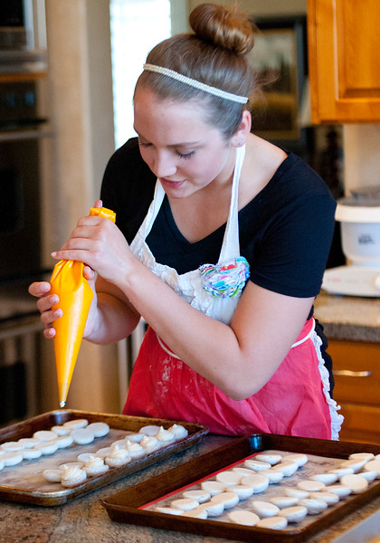 16 year old Jessica Orvis is women who has a passion for macarons. She has sold enough of them to raise more than $4,000 to help people in Swaziland in Africa with their health and transportation needs. In North Salt Lake on April 4, 2015.