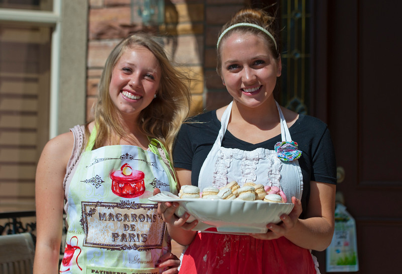 Jessica Orvis and her good friend Taylor Tewell work on a small batch of  macarons. Jessica who is only 16 years old owns a small business selling these tasty treats. She donates the money to people in Swaziland in Africa to help with their health and transportation needs. In North Salt Lake on April 4, 2015.