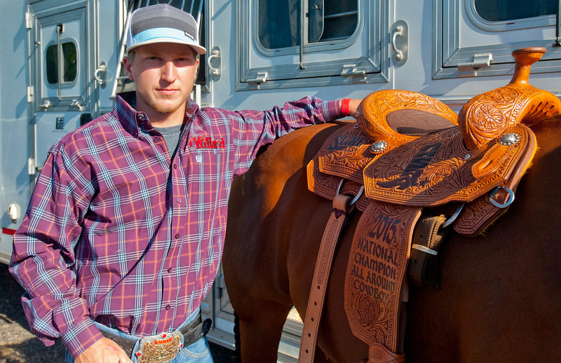 Ladd King is the all-around cowboy in the National High School Rodeo Association. He is one of six top competitors to finish with titles at the rodeo. He practices at his home that is equipped to make year long training giving him a edge on his competitors in Kaysville on July 22, 2015.