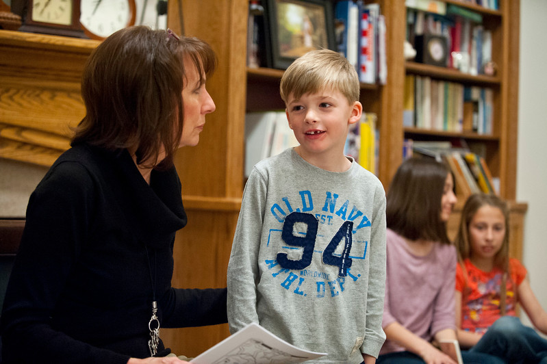 Jack and his grandma Jan Zogmaister talk about Abraham Lincoln and some facts about him during family home evening Monday. In West Haven on February 24, 2015.