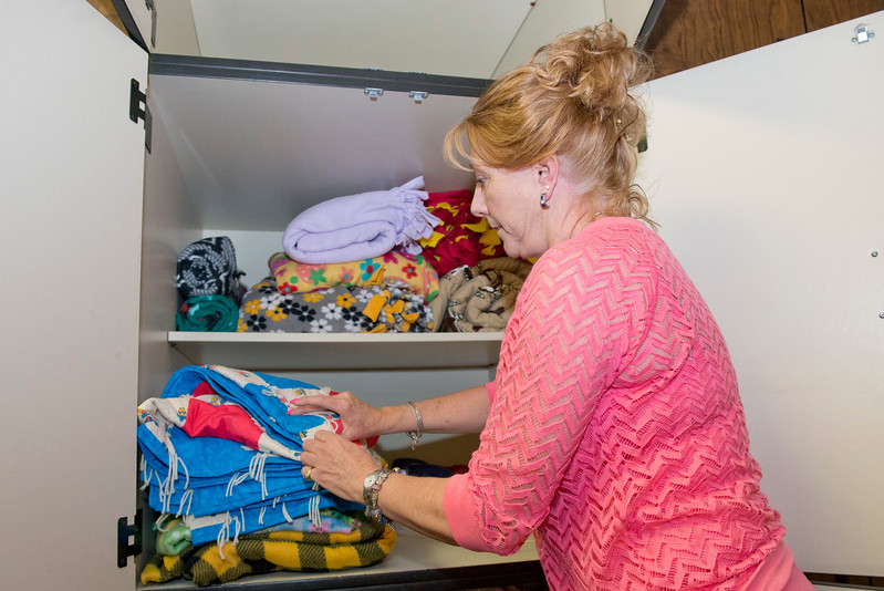 Jeanlee Carver is the Chief Executive Officer at the Northern Utah Sexual Assault Nurse Examiners. She stocks up on donated blankets to give to rape victims. It gives them a sense of normalcy while going thru a rape examination At the NASANE Building in South Ogden on June 16, 2015.