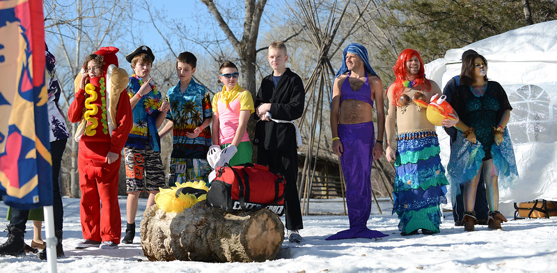 Participants await their turn to jump in the icy waters, At the 2014 Polar Plunge. In Ogden. On January 25 2014. (Brian Wolfer Special to the Standard-Examiner)