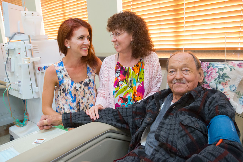 Rick Eilander waits patiently for his dialysis treatment to get finished. His wife Penny and daughter Dani are his biggest support system through the last 25 years of treatment. . At the Dialysis Center in Pleasant View on July 3, 2015