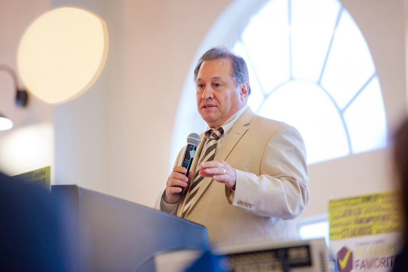 Tom Christoplulos Director of Community & Economic Development gives a speech at the Standard-Examiner Readers' Favorite event. The gathering is to highlight and reward local businesses for the service to the community. The event was held at the Grand View Reception & Event Center in Ogden on June 10, 2015.