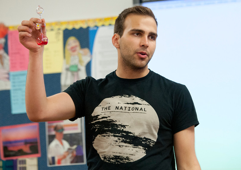 Collin Hoggard does a demonstration for high school students as part of the University of Utah Chemical Engineering Outreach program where the goal is to get high school students excited about science. At Northridge High School in Layton on March, 23 2015.