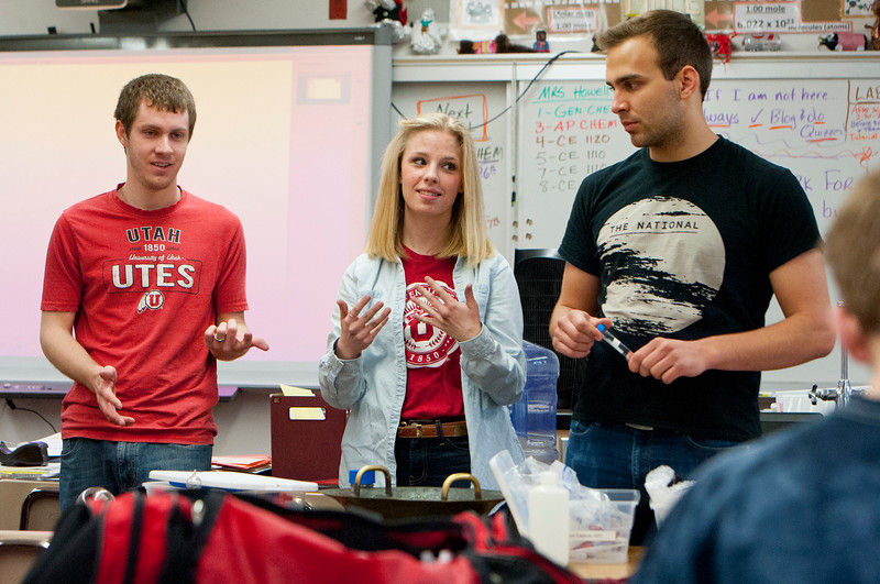 University of Utah Chemical Engineering Outreach program has Katherine Roberts (middle), Kyle Branch (left) and Colton Syndergaard (right) do a hands-on demonstration for science students. At Northridge High School in Layton on March, 23 2015.