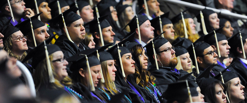 WSU graduates listen to Jone' Law Koford's commencement speech at the Weber State University graduation. At Dee Events Center, on December 13 2013.(Brian Wolfer Special to the Standard-Examiner)