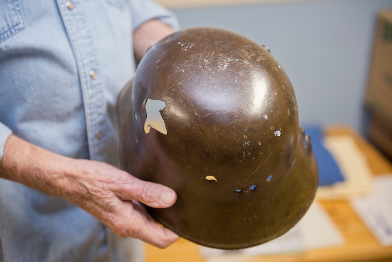 German helmet with bullet holes in it. Roy's father brought the helmet back as a souvenir in WWI. On January 15 2014. (Brian Wolfer Special to the Standard-Examiner)