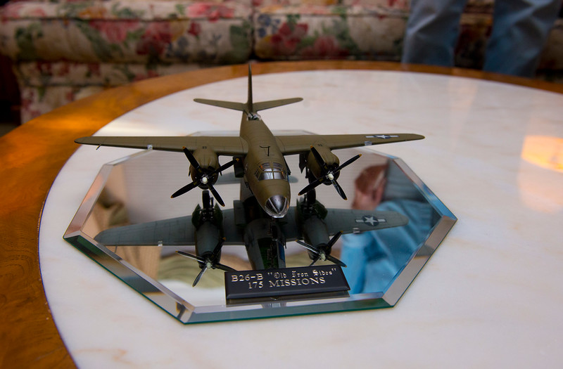 Zack Barlow built a model airplane for 90 year old Roy Stapp. Roy was a B26 bomber pilot in WWII where he flew 175 missions. In Bountiful, On January 15 2014. (Brian Wolfer Special to the Standard-Examiner)