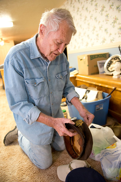 B-26 bomber pilot Roy Stapp shows all of his old cloths and pictures back when he was WWII pilot. On January 15 2014. (Brian Wolfer Special to the Standard-Examiner)