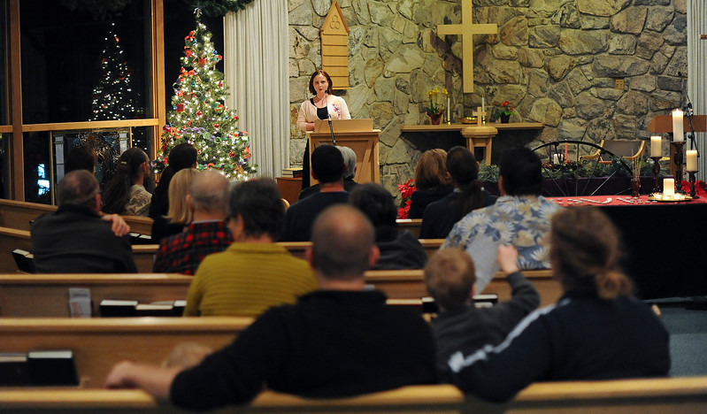 "Karline Valentine sings the song ""Deep River"" at the World Aids Day Candlelight Ceremony. At the Congregational Untied Church of Christ in Ogden. On December 2 2013.(Brian Wolfer Special to the Standard-Examiner)"