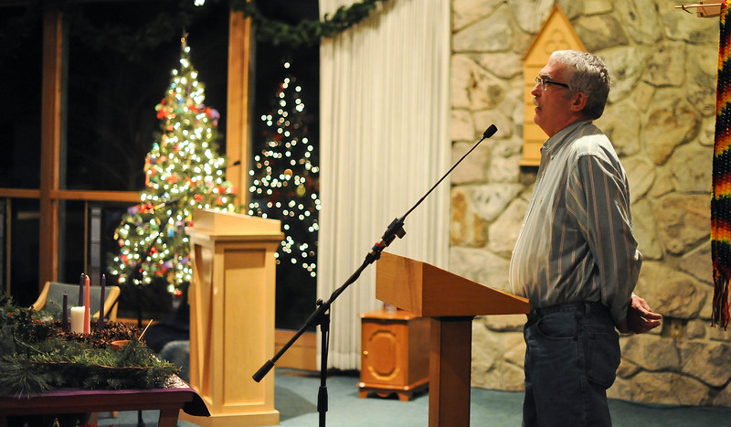 Donny Sawer shares his experience with having AIDS at the Wold Aids Day Candlelight Ceremony. The gathering was to spread awareness.  At the Congregational Untied Church of Christ in Ogden. On December 2 2013.(Brian Wolfer Special to the Standard-Examiner)