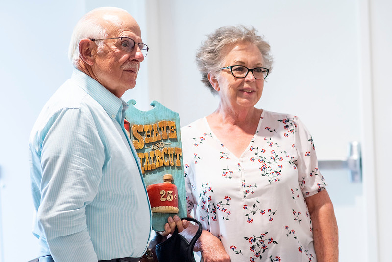 Ron Anderson and his wife Karla get pictures together during Ron's retirement party. At the North Ogden library on June 25, 2020. Ron served the community for 57 years.