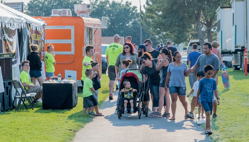 The community gathers for food, music and fireworks during the Roy Days event at the Roy West Park on August 3, 2017.