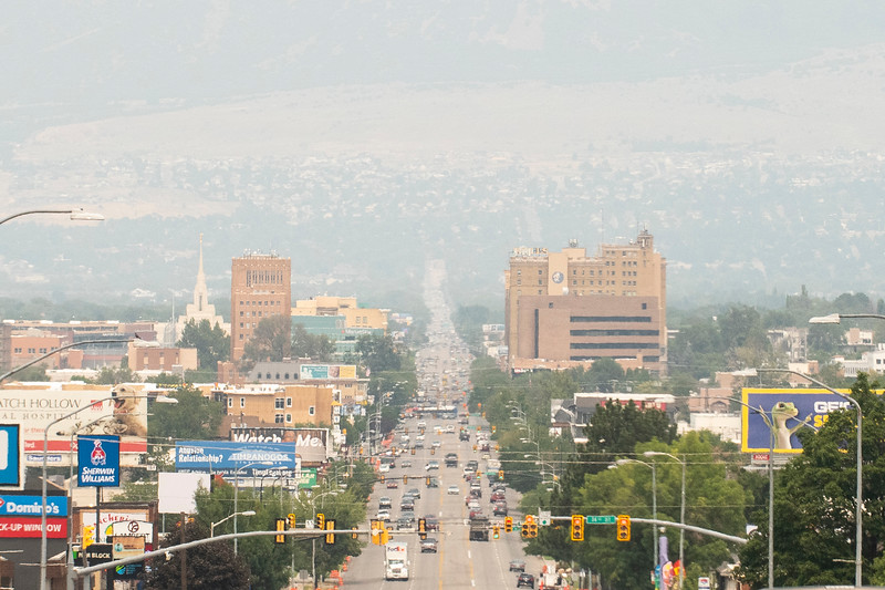 Smoke lingers in downtown Ogden, On August 9, 2021.