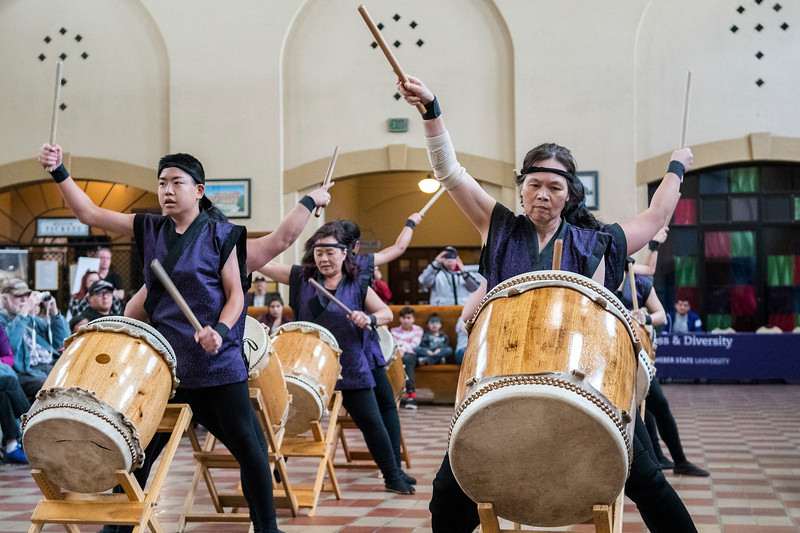 The Ogden Buddhist Taiko Drummers perform during the Heritage Festival at Ogden's Union Station on Saturday May 13, 2017.