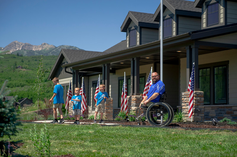 New home unveiled for veteran, Travis Vendela, who lost both legs after an IED attack in Iraq in 2007, was surprised with a home. On July 3, 2020 in Huntsville.