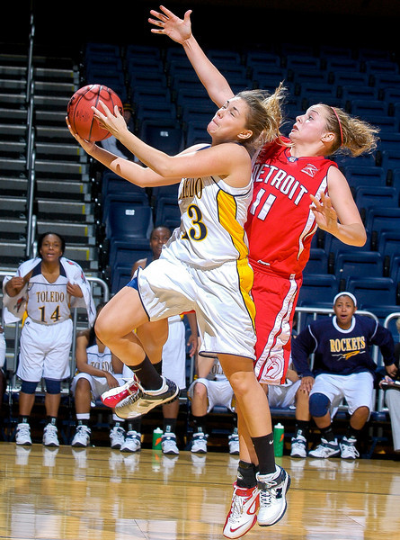 University of Toledo senior Kristi Zeller goes for a layup against the University of Detroit on Dec. 5, 2007. Zeller scored seven points in UT's 26-point victory. She hit a three-pointer late in the game coming off the bench and was four-for-four in free-throw attempts.
