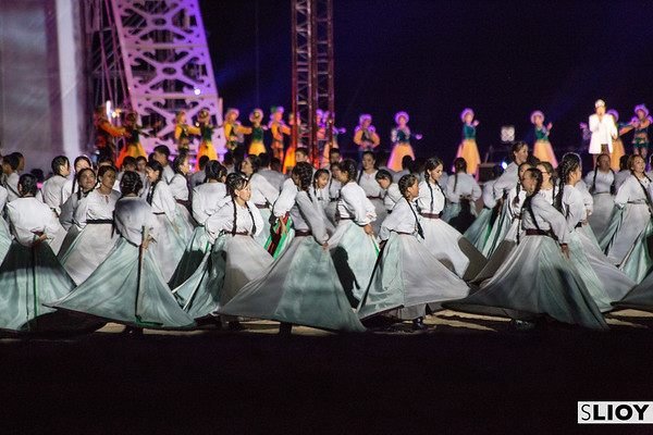 Kyrgyz girls dance on stage during the Opening Ceremony of World Nomad Games 2016 in Kyrgyzstan