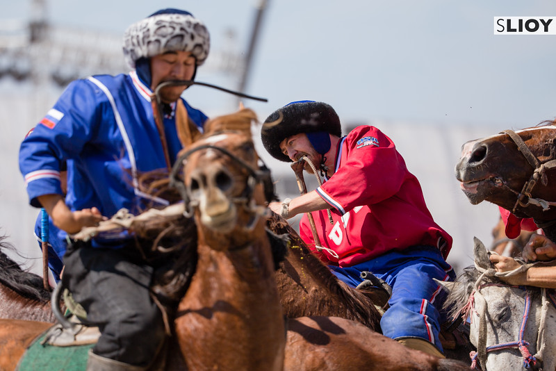 The captain of the US team competes with Russia during kok boru matches at the 2016 World Nomad Games in Kyrgyzstan.