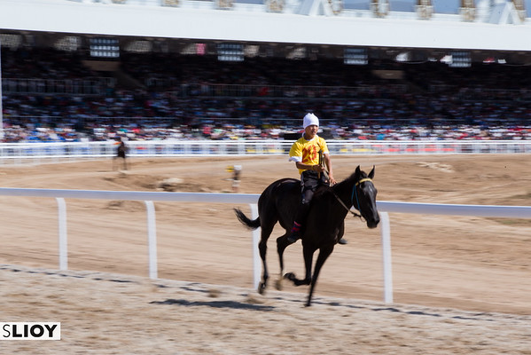 A lone racer falls behind the pack during At Chabysh races at the 2016 World Nomad Games in Kyrgyzstan.