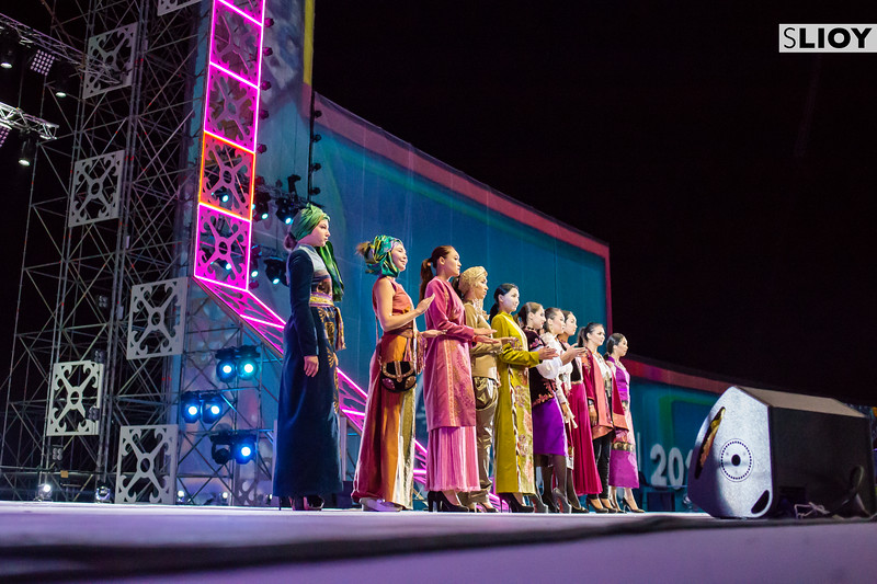Kyrgyz singers on stage during a nightly cultural performance at World Nomad Games 2016 in Kyrgyzstan.