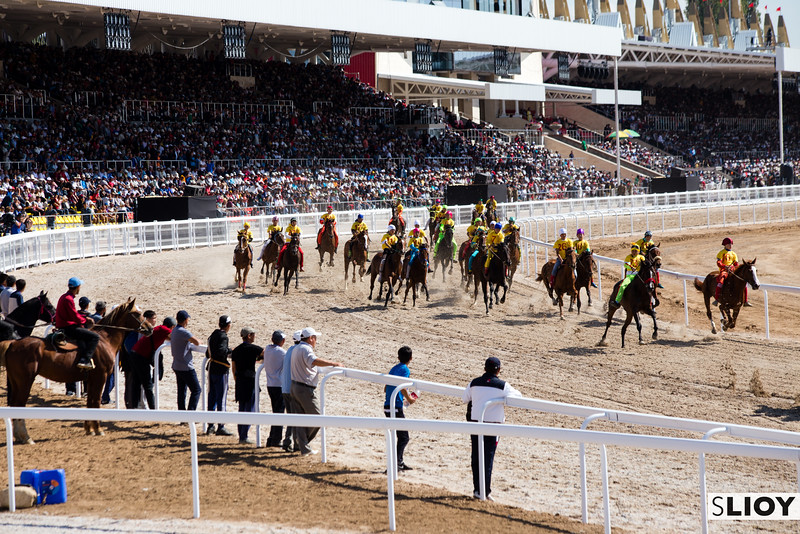 At Chabysh racers spread out on the opening stretch during the 2016 World Nomad Games in Kyrgyzstan.