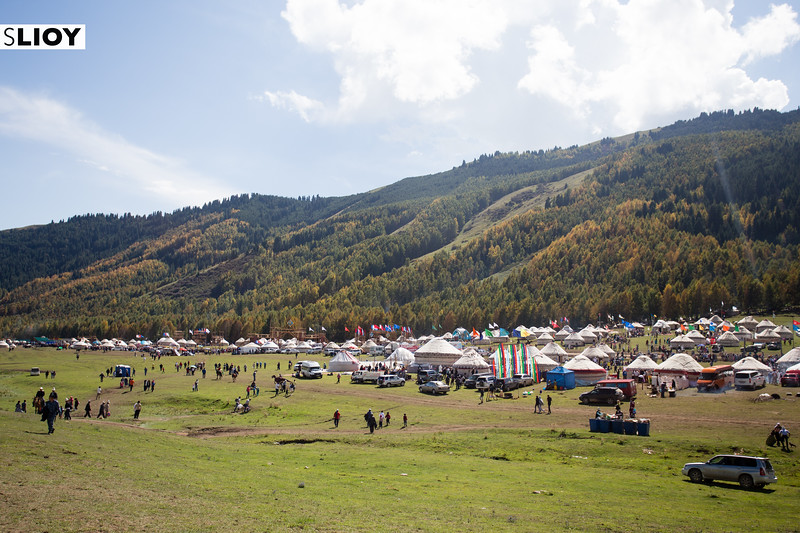 A massive tent city is erected on Jailoo Kyrchyn during the 2016 World Nomad Games in Kyrgyzstan.