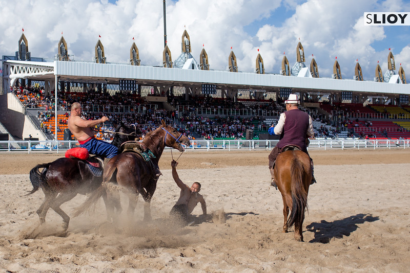 An Er Enish Horse Wrestling match during the 2016 World Nomad Games in Kyrgyzstan.