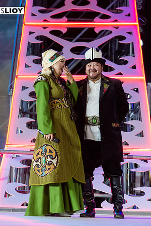 Two performers on-stage during a nightly cultural performance at World Nomad Games 2016 in Kyrgyzstan.