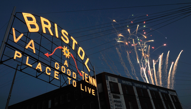 Photo Earl Neikirk/Bristol Herald Courier  The Bristol Sign is lit and fireworks celebrate the 100 yr. celebration on Friday.